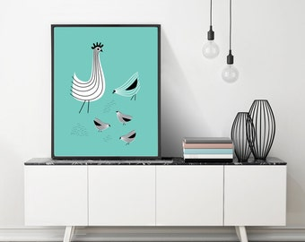 Large Chicken Print, Large Rooster Art, Retro Kitchen, Chicken Lover Gift