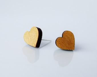 More Options Wooden Heart Stud Earrings