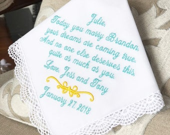 Wedding Gift for Bride from Maid of Honor  - Today you MARRY  - your DREAMS are coming TRUE- Handkerchief - Hankie - Bride Wedding Accessory