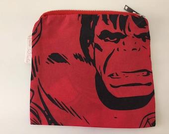 Red & Black Comic Print Incredible Hulk Coin Purse | Zipper Purse | Small Bag | Small Cosmetic Bag | Secret Santa Gift | Stocking Filler
