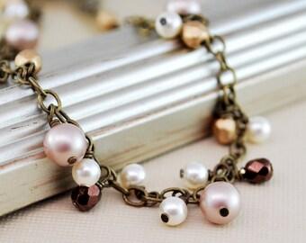 Pearl Cluster Bracelet Antiqued Brass Chain Swarovski Pearls Czech Glass Wire Wrapped Anklet Feminine Jewelry
