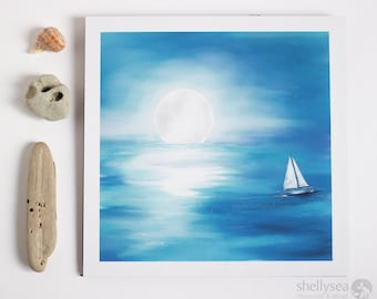 Moon Waters - square digital watercolor print, moon, ocea, sea, blue, sailboat, seascape, beach decor