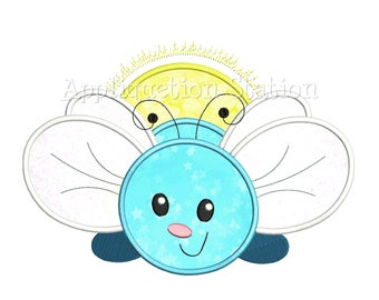 Cute Bugzee Firefly Lightning Bug Applique Machine Embroidery Design boy/girl baby insect INSTANT DOWNLOAD