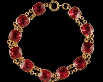 Pink Paste Bracelet Gold Silver Circa 1930