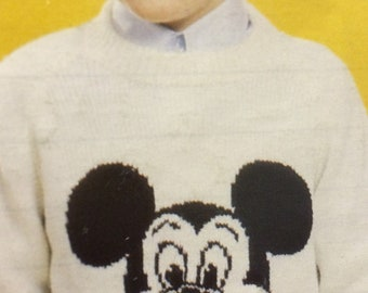 Children And Adult Mickey Mouse Knitting Pattern
