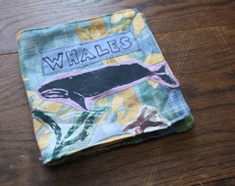 Eco friendly children's whale cloth book, Ocean book, toddler book, baby book, baby gift, soft book, fabric book, educational gift, whale