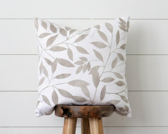 Grey Leaves Decorative Pillow, Botanical Pillow Cover, Neutral Leaves Pillow