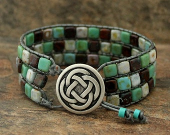 Leather Mosaic Tile Bracelet in Turquoise Earth Tones