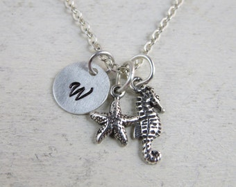 Sterling silver seahorse and starfish necklace, beach theme necklace, ocean theme necklace, seahorse necklace, initial necklace