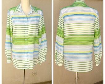 "60s polyester blouse / horizontal stripes / long sleeve blue white lime green stripy fun spring button up shirt, medium-large, 40"" bust"