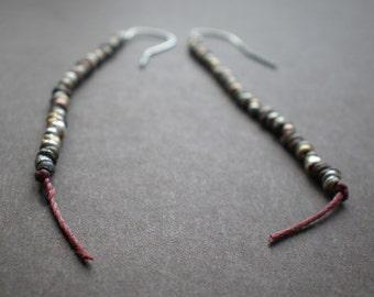 Boho Earrings / String Earrings / Mixed Metal Beads /Dorijenn Jewelry/Hanging Thread Earrings / Rustic Earrings - Simple Earrings - Gift Her