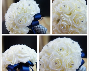 13pc wedding bridal party flowers-supreme silk flower roses with navy blue ribbon-bouquet boutonniere corsage