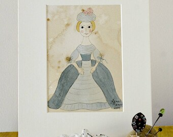 Queen Anne Doll Original Watercolor No. 2 by Lana Manis, Early American, Primitive, Folk Art, Ready to Frame