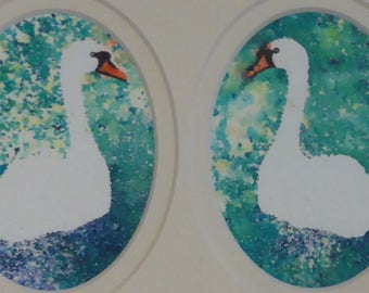 Valentines gift, swan painting, anniversary gift, couple present,  swans in love