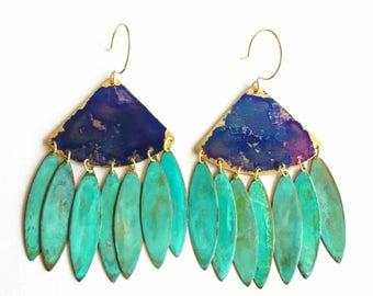 Festival Earrings - Watercolor Patina