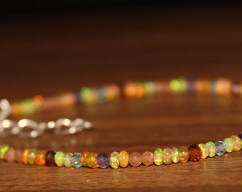 Opal Bracelet, Sunstone Bracelet, Amethyst Bracelet, Apatite Bracelet, Hassonite & Mozambique Garnet Braclet , MultiStone Bracelet 0021
