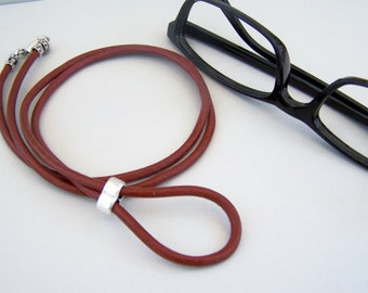 Lanyard for Eyeglasses, Brick Red Leather, Eyeglasses Holder, 26-36 inch, Eyeglass Necklace, Eyeglass Chain, Glasses Loop by Eyewearglamour