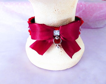 Red pleated collar with gems