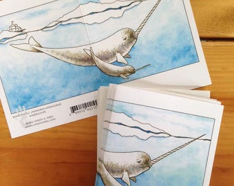 6 blank cards - Narwhal!  Hipster Father's Day card