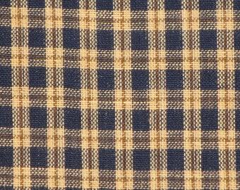 Homespun Material | Cotton Material | Plaid Material | Rag Quilt Material | Navy Plaid Material | Rag Wreath Fabric | Primitive Material