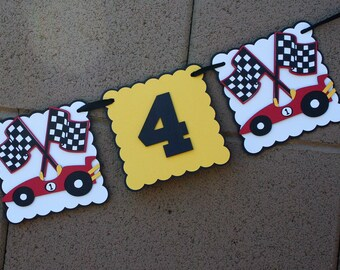 Race Car Birthday Banner. Yellow, Red, White and Black. Happy Birthday. Flags.