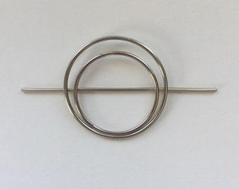 German Silver Double Circle Hair Slide- minimalist organic hair circle barrette  geometric yoga hair stick graduation gift for her hair pin