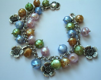 Colourful freshwater pearl charm bracelet