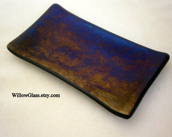 Fused Glass Soap or Dresser Dish  in Iridescents by Willow Glass,  Home Decor, Mens Gift