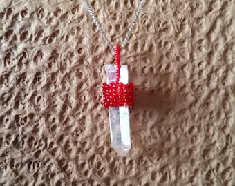 Red beaded crystal necklace