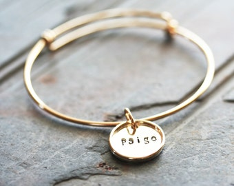 Adjustable Gold Filled Bangle Bracelet Featuring Hand Stamped Personalized Silver & Gold Charm - Stamping on BOTH Sides