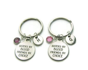 2 Sisters By Blood Friends By Choice Keychains, Sisters Keychains, Keychains For Sisters, Gift For Sisters, Sisters Jewelry, Personalized
