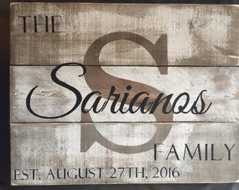 Custom Wood Name Sign, Personalized Wedding Gift, Pallet Last Name Sign, Rustic Family Est. Sign, realtor closing gift, farmhouse decor