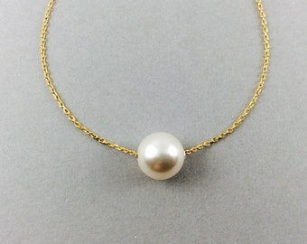 Pearl necklace, bridal pearl necklace, bridesmaids gifts, floating pearl, gold pearl necklace, simple jewelry, white pearl necklace