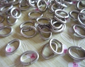 Oval Jump Rings Antiqued Silver Oval 18 gauge Jump Rings 8X6mm - Qty 88 Pieces