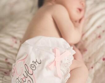 Personalized Baby Bloomers, Custom Monogram Baby Girl Bloomers, Baby Girl Bloomers
