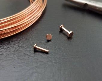 "16g 3/16"" (5mm) Rose Gold Internally Threaded Flatback Stud Cartilage Triple Helix Jewelry 316lvm Steel"