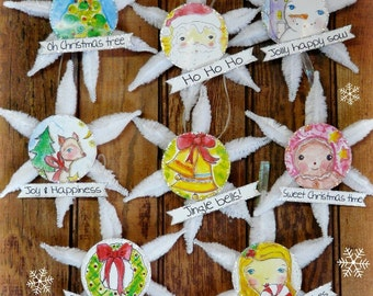 Christmas ornaments banners pattern - Collage art Sheets PDF chenille stem watercolor painting snowman santa reindeer
