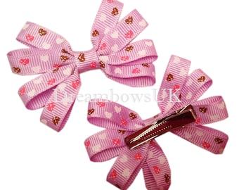Lilac hair accessories, hair clips, Heart design hair bows on slides, hair accessories for girls, pretty lilac hair bows, alligator clips