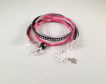 Double bracelet with Rhinestones - black and Fuchsia
