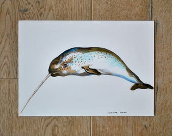 Narwhal,narwhal drawing, original artwork, animal art, nature wall art