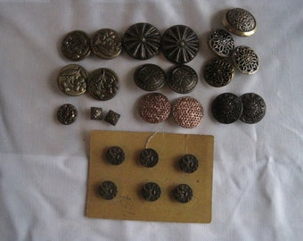 Vintage/Antique Lot of 25 Brass/Metal Buttons-Filigree, Pierced, Mirror, Floral