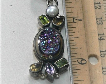 sterling pendant with real pearl and stones