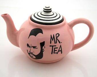Mr.  T Tea Teapot in pink ceramic teapot holds 4 to 6 cups, funny teapot, gift for tea drinker, tea lover,80s nostalgia,funny gift