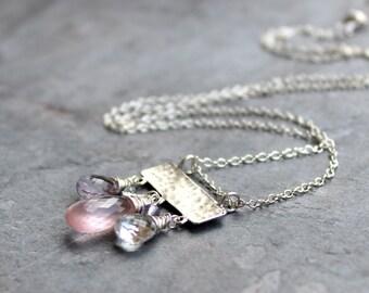 Pink Gemstone Necklace Rose Quartz Sterling Silver Slider Pendant Hammered Pink Amethyst Multi Stone