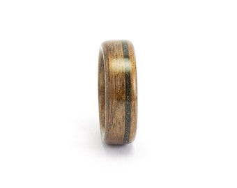 Wood Wedding Band, Wood Ring for Men or Women, Wooden Wedding Ring, Walnut Wood Ring, Black Opal Ring, Bentwood Ring, Wooden Band, Opal Ring