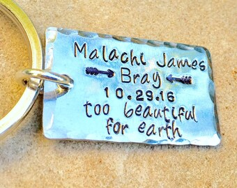 Memorial Gifts, Too Beautiful For Earth, Custom Keychain, Personalized Keychains, natashaaloha