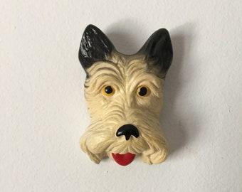 Chalkware Scottish Terrier Dog Wall Hanging