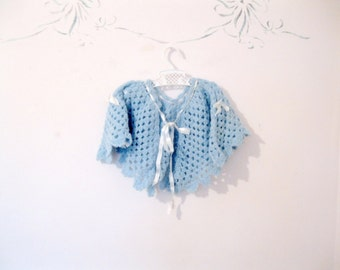 Baby Crochet Poncho, Vintage Baby Clothes, Crochet Poncho, Sweater, 1 to 2 years, blue, antique