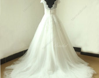 Open back Romantic ivory a line lace tulle wedding dress will scallop neckline