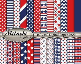 "60% OFF SALE 4th of July Stars and Stripes digital paper pack, 12"" x 12"" scrapbook papers, backgrounds - Instant Download - M269"